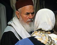 Tunisia.  Tunis Medina.  Bearded Tunisian Man Wearing Traditional Tunisian Hat (Chechia).