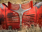 Grills in a yard full of auto and truck parts, grills, headlights, Golconda, Nev.