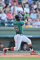 Shortstop Kelvin Beltre (29) of the Augusta GreenJackets bats in a game against the Greenville Drive on Friday, June 10, 2016, at Fluor Field at the West End in Greenville, South Carolina. Greenville won, 5-4. (Tom Priddy/Four Seam Images)