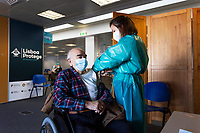 LISBON, PORTUGAL - MARCH 9: A person its seen receiving his dose of COVID-19 vaccine in Lisbon, on March 9, 2021. <br /> According to the latest data from the Directorate-General for Health, Portugal currently has over a million  people vaccinated.<br /> (Photo by Luis Boza/VIEWpress via Getty Images)