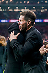 Former player of Atletico de Madrid Fernando Torres and head coach Diego Simeone hug each other as he attends a tribute in Gabriel Fernandez honor after the La Liga 2018-19 match between Atletico de Madrid and RCD Espanyol at Wanda Metropolitano on December 22 2018 in Madrid, Spain. Photo by Diego Souto / Power Sport Images