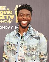 16 June 2018-  Santa Monica, California - Chadwick Boseman. 2018 MTV Movie And TV Awards held at Barker Hangar. Photo Credit: Faye Sadou/AdMedia