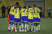 Haringey players huddle during Haringey Borough vs Potters Bar Town, Pitching In Isthmian League Premier Division Football at Coles Park Stadium on 28th September 2021