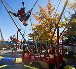 Five year old Caleb on a trampoline during Pumpkin Palooza on Sunday Oct. 21, 2018 in Sparks, Nevada.