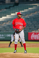 AZL Angels starting pitcher Jose Suarez (96) prepares to deliver a pitch to home plate against the AZL White Sox on August 14, 2017 at Diablo Stadium in Tempe, Arizona. AZL Angels defeated the AZL White Sox 3-2. (Zachary Lucy/Four Seam Images)