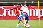 Spain's Marc Bartra (l) and Mikel San Jose during preparing training stage to Euro 2016. May 30,2016.(ALTERPHOTOS/Acero)