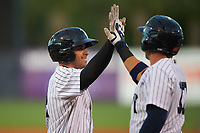 Tampa Yankees Michael O'Neill high fives Jake Skole (17) after hitting a home run in the second inning of a game against the Dunedin Blue Jays on April 19, 2016 at George M. Steinbrenner Field in Tampa, Florida.  Tampa defeated Dunedin 12-7.  (Mike Janes/Four Seam Images)