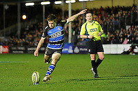 Tom Heathcote of Bath Rugby takes a penalty kick as Referee Dave Pearson looks on during the LV= Cup semi final match between Bath Rugby and Leicester Tigers at The Recreation Ground, Bath (Photo by Rob Munro, Fotosports International)