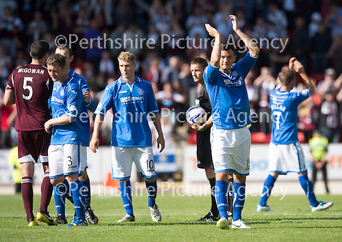 St Johnstone v Hearts...04.08.13 SPFL<br /> Gary Miller applauds the fans at full time<br /> Picture by Graeme Hart.<br /> Copyright Perthshire Picture Agency<br /> Tel: 01738 623350  Mobile: 07990 594431