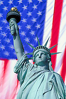USA, New York, New York City. Statue of Liberty super imposed  on flag of the USA