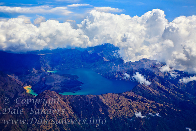 Aerial view of Mount Rinjani, at 3726 meters high it is Indonesia's second highest Volcano and is located on the island of Lombok.