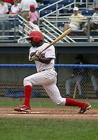 August 16, 2003:  infielder Tim Moss of the Batavia Muckdogs during a game at Dwyer Stadium in Batavia, New York.  Photo by:  Mike Janes/Four Seam Images