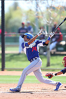 Alex Santana #74 of the Los Angeles Dodgers bats during a Minor League Spring Training Game against the Cleveland Indians at the Los Angeles Dodgers Spring Training Complex on March 22, 2014 in Glendale, Arizona. (Larry Goren/Four Seam Images)