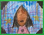 Art work by child girl age 6 self portrait
