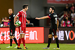 Bayern Munich Forward Robert Lewandowski (L) reacts with AC Milan Midfielder Hakan Calhanoglu (R) during the 2017 International Champions Cup China  match between FC Bayern and AC Milan at Universiade Sports Centre Stadium on July 22, 2017 in Shenzhen, China. Photo by Marcio Rodrigo Machado / Power Sport Images