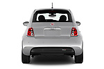 Straight rear view of 2017 Fiat 500e Battery-Electric 5 Door Hatchback Rear View  stock images