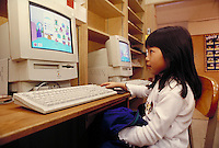 ELEMENTARY SCHOOL COMPUTER LAB. ELEMENTARY STUDENTS. OAKLAND CALIFORNIA USA CARL MUNCK ELEMENTARY SCHOOL.
