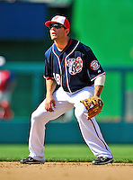 30 May 2011: Washington Nationals infielder Danny Espinosa in action against the Philadelphia Phillies at Nationals Park in Washington, District of Columbia. The Phillies defeated the Nationals 5-4 to take the first game of their 3-game series. Mandatory Credit: Ed Wolfstein Photo