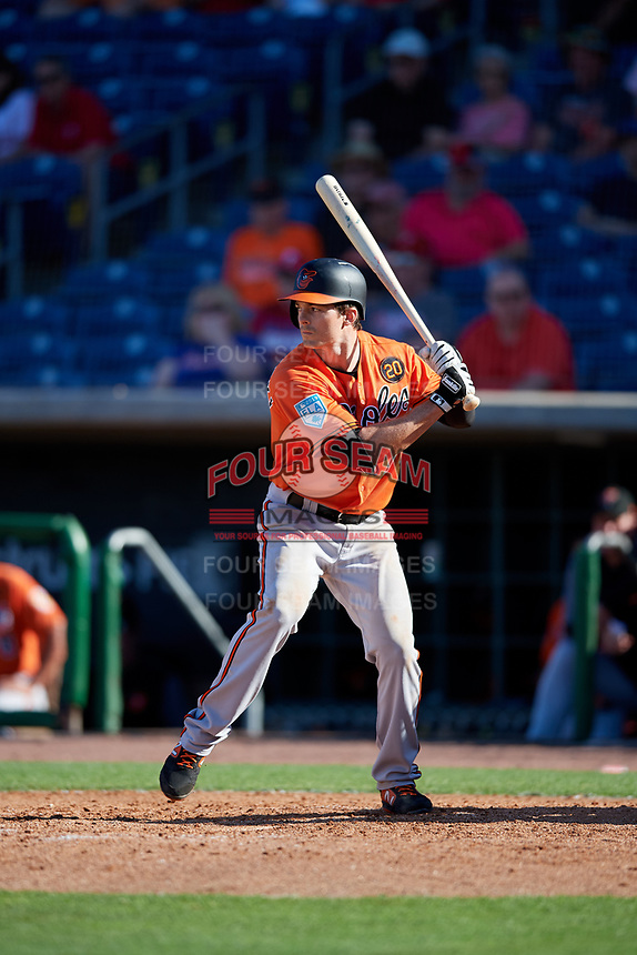 Baltimore Orioles left fielder Mike Yastrzemski (75) at bat during a Grapefruit League Spring Training game against the Philadelphia Phillies on February 28, 2019 at Spectrum Field in Clearwater, Florida.  Orioles tied the Phillies 5-5.  (Mike Janes/Four Seam Images)