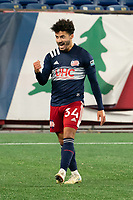 FOXBOROUGH, MA - OCTOBER 09: Ryan Spaulding #34 of New England Revolution II celebrates his goal against Fort Lauderdale during a game between Fort Lauderdale CF and New England Revolution II at Gillette Stadium on October 09, 2020 in Foxborough, Massachusetts.