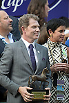 ARCADIA, CA - NOV 04: Chef Bobby Flay waits to present the trophy to the winning connections of New Money Honey after she won the Breeders' Cup Juvenile Fillies Turf at Santa Anita Park on November 4, 2016 in Arcadia, California. (Photo by Alex Evers/Eclipse Sportswire/Breeders Cup)