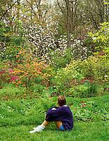 Young girl sitting at Hendricks Park, Eugene, Oregon.
