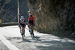 Julien Bernard (FRA) Trek-Segafredo and Warren Barguil (FRA) Team Arkea-Samsic climb the Cote de Duranas during Stage 8 of Paris-Nice 2021, running 92.7km from Le Plan-du-Var to Levens, France. 14th March 2021.<br /> Picture: ASO/Fabien Boukla | Cyclefile<br /> <br /> All photos usage must carry mandatory copyright credit (© Cyclefile | ASO/Fabien Boukla)