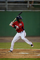Potomac Nationals Osvaldo Abreu (5) at bat during a Carolina League game against the Myrtle Beach Pelicans on August 14, 2019 at Northwest Federal Field at Pfitzner Stadium in Woodbridge, Virginia.  Potomac defeated Myrtle Beach 7-0.  (Mike Janes/Four Seam Images)