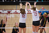 STANFORD, CA - November 15, 2017: Audriana Fitzmorris, Merete Lutz at Maples Pavilion. The Stanford Cardinal defeated USC 3-0 to claim the Pac-12 conference title.