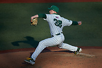 Charlotte 49ers relief pitcher Jackson Boss (38) in action against the Florida Atlantic Owls at Hayes Stadium on April 2, 2021 in Charlotte, North Carolina. The 49ers defeated the Owls 9-5. (Brian Westerholt/Four Seam Images)