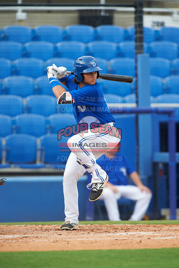 Dunedin Blue Jays designated hitter Bo Bichette (10) at bat in the bottom of the first inning during a game against the Bradenton Marauders on July 17, 2017 at Florida Auto Exchange Stadium in Dunedin, Florida.  Bradenton defeated Dunedin 7-5.  (Mike Janes/Four Seam Images)