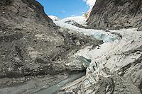 Retreating Franz Josef Glacier, Westland National Park, West Coast, World Heritage, South Island, New Zealand