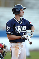 Xavier Musketeers Patrick Jones #21 during a game vs. the Illinois State Redbirds at Chain of Lakes Stadium in Winter Haven, Florida;  March 5, 2011.  Illinois State defeated Xavier 7-6.  Photo By Mike Janes/Four Seam Images