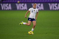 ORLANDO CITY, FL - FEBRUARY 18: Lindsey Horan #9 looks for options during a game between Canada and USWNT at Exploria stadium on February 18, 2021 in Orlando City, Florida.