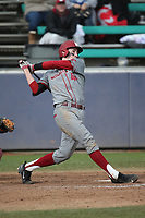Dillon Plew (44) of the Washington State Cougars bats against the Loyola Marymount Lions at Page Stadium on February 26, 2017 in Los Angeles, California. Loyola defeated Washington State, 7-4. (Larry Goren/Four Seam Images)