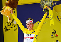 11th July 2021, Ceret, Pyrénées-Orientales, France; Tour de France cycling tour, stage 15, Ceret to  Andorre-La-Vieille;  POGACAR Tadej (SLO) of UAE TEAM EMIRATES pictured with the yellow jersey during the podium ceremony during stage 15 of the 108th edition of the 2021 Tour de France cycling race, a stage of 191,3 kms between Ceret and Andorre-La-Vieille.