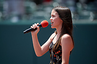 Reagan Kucinski sings the national anthem before a Memphis Redbirds game against the Iowa Cubs on May 29, 2017 at AutoZone Park in Memphis, Tennessee.  Memphis defeated Iowa 6-5.  (Mike Janes/Four Seam Images)