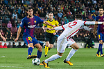Sergi Roberto Carnicer (l) of FC Barcelona fights for the ball with Thanasis Androutsos of Olympiacos FC during the UEFA Champions League 2017-18 match between FC Barcelona and Olympiacos FC at Camp Nou on 18 October 2017 in Barcelona, Spain. Photo by Vicens Gimenez / Power Sport Images