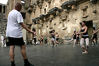 The Royal Ballet in class on the stage of the Aspendos theatre, Antalya, Turkey