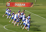 Players Japan's national soccer team are seen during a soccer training session in the Princess Magogo stadium in the township of Kwamashu in Durban June 18, 2010.REUTERS/Michael Kooren (SOUTH AFRICA) ...