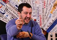 Il segretario della Lega Nord Matteo Salvini tiene una conferenza stampa all'Associazione della Stampa Estera a Roma, 10 dicembre 2014.<br /> Lega Nord's leader Matteo Salvini attends a press conference at the Foreign Press association in Rome 10 December 2014.<br /> UPDATE IMAGES PRESS/Riccardo De Luca