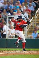 Boston Red Sox center fielder Jackie Bradley Jr. (25) at bat during a Spring Training game against the Minnesota Twins on March 16, 2016 at Hammond Stadium in Fort Myers, Florida.  Minnesota defeated Boston 9-4.  (Mike Janes/Four Seam Images)