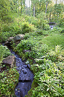 Stream with rushing water and native groundcovers in environmentally-responsible, native plant sustainable garden, Mt Cuba Center Delaware