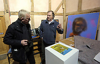 Pictured L-R: Guardian Art correspondent Mark Brown and Anthony Plant of the Sidney Nolan Trust, in the exhibition area Friday 02 December 2016<br /> The Sidney Nolan Trust, Rodd, Herefordshire, England, UK