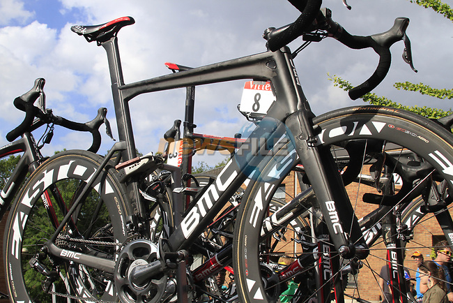 BMC Racing Team bikes atop the team car at the end of Stage 1 of the 99th edition of the Tour de France, running 198km from Liege to Seraing, Belgium. 1st July 2012.<br /> (Photo by Eoin Clarke/NEWSFILE)