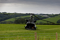 2020 07 29 RAF Chinook helicopter, Llangynin, west Wales, UK.