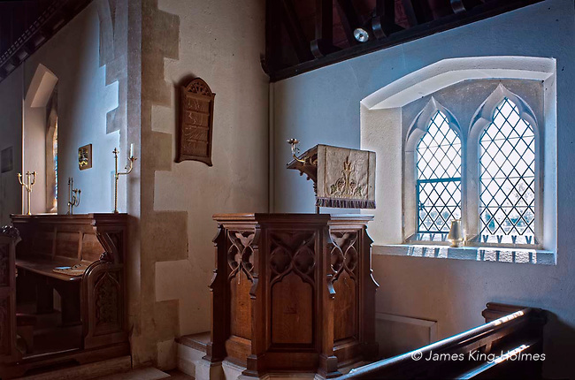 The pulpit of St Lawrence Church, Tubney, Oxfordshire, UK. This is the only Protestant church designed by Augustus Pugin. The interior fittings were designed by him and remain unchanged since its consecration in 1847.