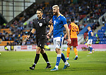 St Johnstone v Galatasaray…12.08.21  McDiarmid Park Europa League Qualifier<br />Referee Andris Tremanis has words with Shaun Rooney<br />Picture by Graeme Hart.<br />Copyright Perthshire Picture Agency<br />Tel: 01738 623350  Mobile: 07990 594431