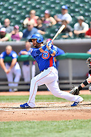 Tennessee Smokies catcher Erick Castillo (16) swings at a pitch during a game against the Birmingham Barons at Smokies Stadium on May 6, 2018 in Kodak, Tennessee. The Smokies defeated the Barons 6-2. (Tony Farlow/Four Seam Images)