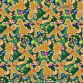 Randy, GIFT WRAPS, GESCHENKPAPIER, PAPEL DE REGALO, paintings+++++Gingerbread-pattern-on-green,USRW87,#GP# Christmas napkins
